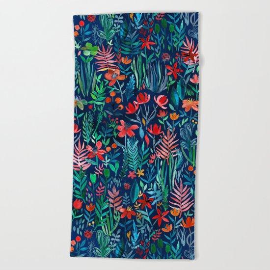 Tropical Ink - a watercolor garden Beach Towel