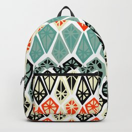 Abstract geometric hand painted red black teal diamond shapes Backpack