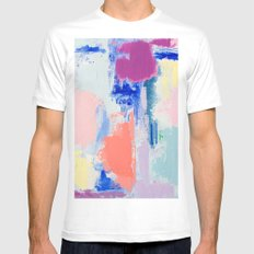 MAVEN 3 // ABSTRACT MIXED MEDIA ON CANVAS Mens Fitted Tee White LARGE