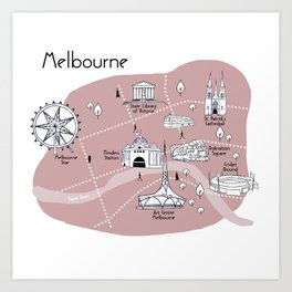 Mapping Melbourne - Pink Art Print