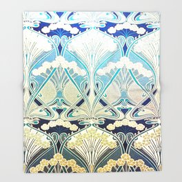 silver art nouveau Throw Blanket