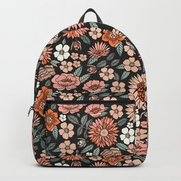 70s flowers - 70s, retro, spring, floral, florals, floral pattern, retro flowers, boho, hippie, earthy, muted Backpack