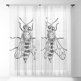 Bee. Hand-drawn bee on a white background. Black and white. Sketch style Sheer Curtain
