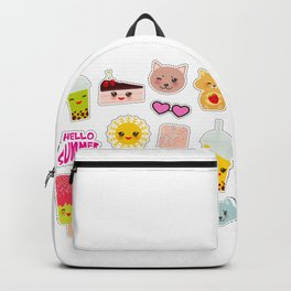 Hello Summer. Pineapple, cherry smoothie cup, ice cream, sun, cat, cake, hamster. Kawaii cute face. Backpack
