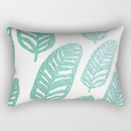 Bright green and blue leaves Rectangular Pillow