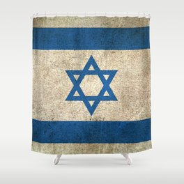 Old and Worn Distressed Vintage Flag of Israel Shower Curtain