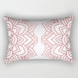 Modern geometric white rose faux gold floral mandala Rectangular Pillow