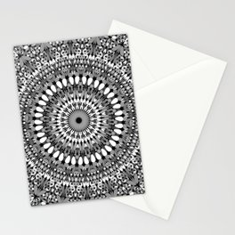 Grey Ornate Gravel Mandala Stationery Cards