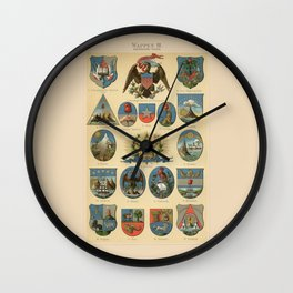 Coat of arms lithograph 1897 vintage illustration Wall Clock