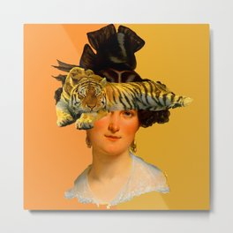 GENTLEWOMAN FACE WITH SLEEPING TIGER I Metal Print