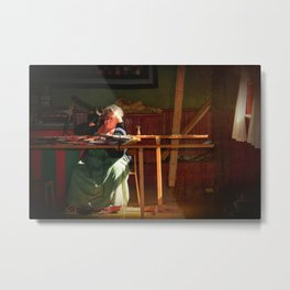 Old time quilt maker in window light Metal Print