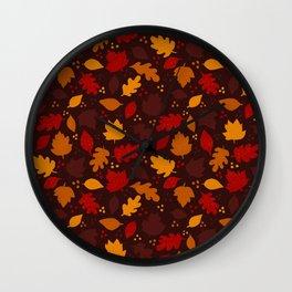 Autumn Leaves Pattern on Dark Brown Wall Clock