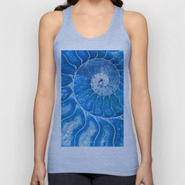 Blue colored Ammonite fossil Unisex Tank Top