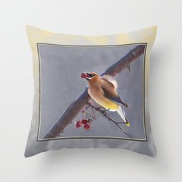 Cedar Waxwing With Berry Throw Pillow