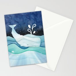 Whale Goes For A Night Swim Stationery Cards