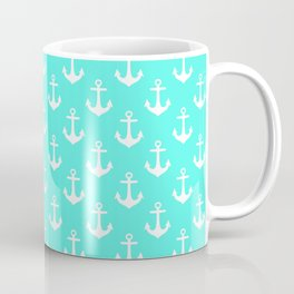 Anchors (White & Turquoise Pattern) Coffee Mug