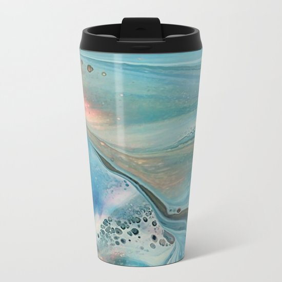 Pearl marble abstraction Metal Travel Mug