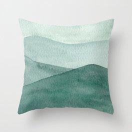 Green Mountain Range Throw Pillow