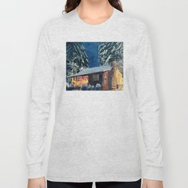 """Cabin In The Woods"" Log Cabin Original Art by Bryn Reynolds Long Sleeve T-shirt"