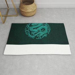 Traditional Teal Blue Chinese Dragon Circle Rug