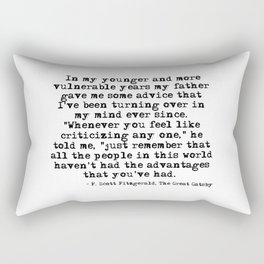 In my younger and more vulnerable years - F Scott Fitzgerald Rectangular Pillow