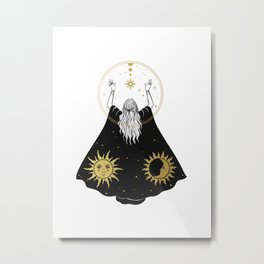 Music 94 Magical Woman With Black Cape Moon Stars Gold Astrological Styles Bohemian Boho Style Metal Print