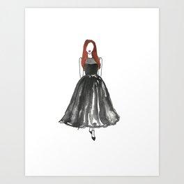 Black Tea Length Watercolor Dress Fashion Illustration Art Print