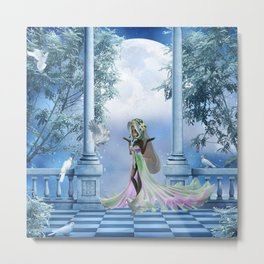 Cute fairy with dove Metal Print