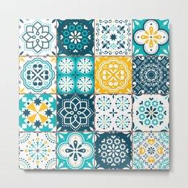 Tile Pattern Teal Yellow Metal Print