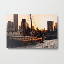 Sailing ship parking at pier 26 by Hudson river at sunset Metal Print