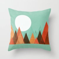 Throw Pillows featuring From the edge of the mountains by Picomodi