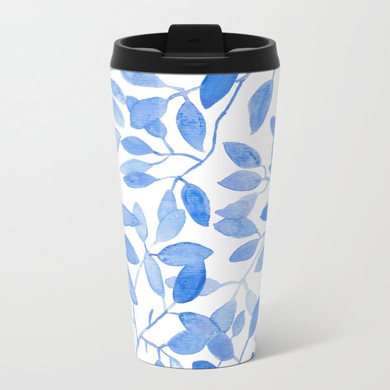 Watercolor Leafs Metal Travel Mug