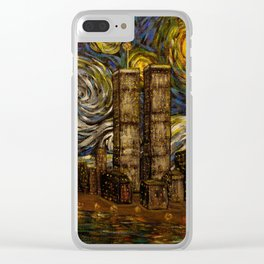 NYC Starry Night: Twin Towers (The True Towers) Clear iPhone Case