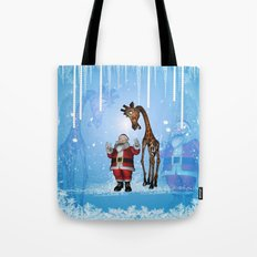 Santa Claus with funny giraffe Tote Bag