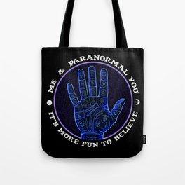 Me & Paranormal You - James Roper Design - Palmistry (white lettering) Tote Bag