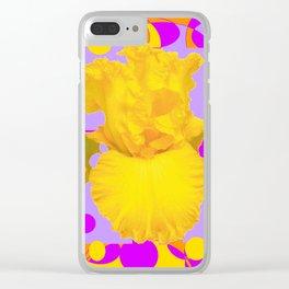 Modern Yellow Iris Purple Patterns Flowers art Clear iPhone Case