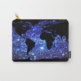 world Map Blue Swirl Galaxy Sparkle Carry-All Pouch