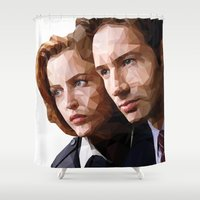 mulder Shower Curtains featuring Scully and Mulder - The truth is out there by Mandog Designs