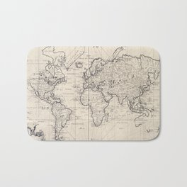 Vintage Map of The World (1750) Bath Mat