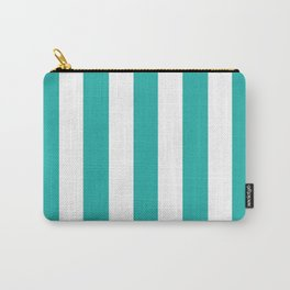 Light sea green - solid color - white vertical lines pattern Carry-All Pouch