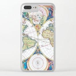 World map wall art 1690 dorm decor mappemonde Clear iPhone Case