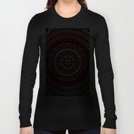 Red and Black Mandala Long Sleeve T-shirt