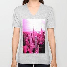 New York City Pink Unisex V-Neck