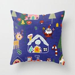 Santa Claus Blue #Christmas #Holiday Throw Pillow