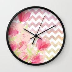 Chevron Tulips Wall Clock