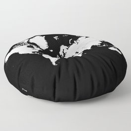 Minimalist World Map White on Black Background. Floor Pillow