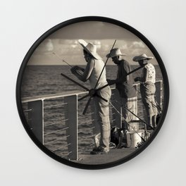 Fishing on Pier Wall Clock