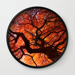 Ephemeral - Fall Maple Leaves, Nature Photography Wall Clock