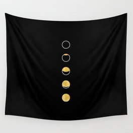 Moon Phase Wall Tapestry, Lunar Cycle, Black and Gold, Black and White, Gold Circles, Geometric Wall Tapestry