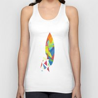 surfboard Tank Tops featuring Surfboard abstract triangle by frap231